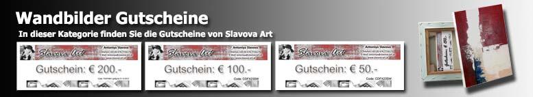 Wandbilder Gutscheine von Slavova Art. Handgemalte Gutscheine als Wandbild