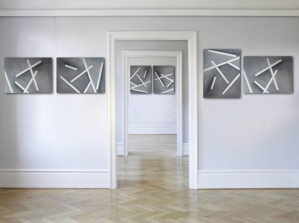 Acrylbilder abstarkt auf Keilrahmen Silber