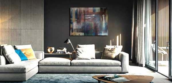 Modernes Wandbild im abstrakten Wandbilder Stil. Das Wandbild ist handgemalt und auf Keilrahmen gespannt.